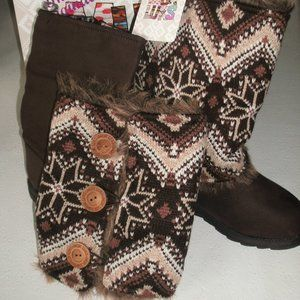 Muk Luks Andrea Reversible Sweater Boots 7 New!
